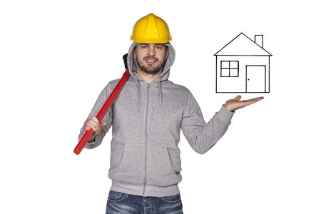 awkwardness: builder shows new house Stock Photo
