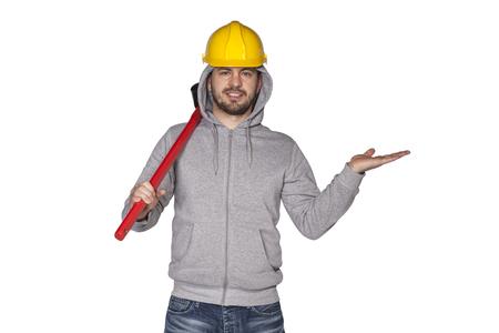 awkwardness: builder shows something
