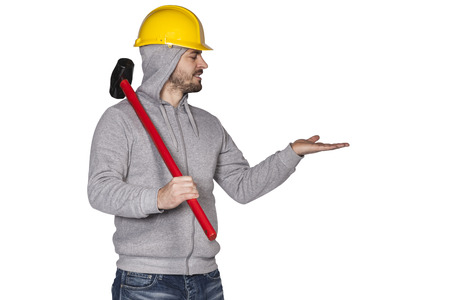 awkwardness: builder on a white background, space for advertisement
