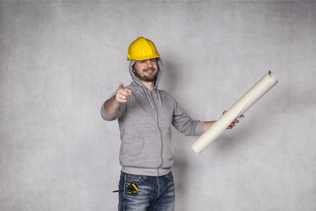 awkwardness: builder pointing at you