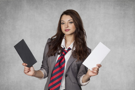 bribery: Portrait of a business woman with bribery
