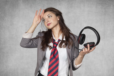 responsibility survey: headache of telephone conversations Stock Photo