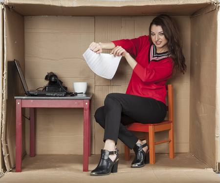 cramped space: bad contract is to break Stock Photo