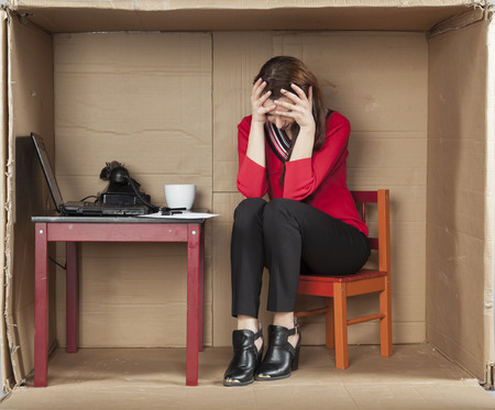 cramped: business woman is bankrupt