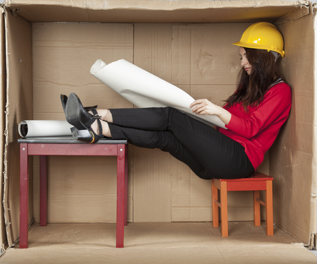 renunciation: work in the office of architect Stock Photo