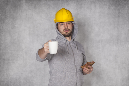 proposes: Worker proposes coffee Stock Photo