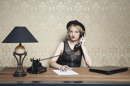 bad manners: business woman is working hard in the office