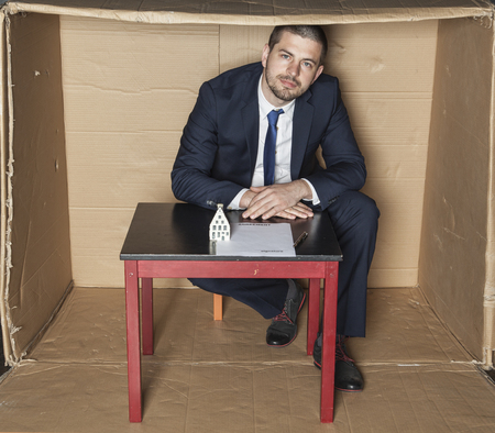 careerist: businessman waiting for customer signature Stock Photo
