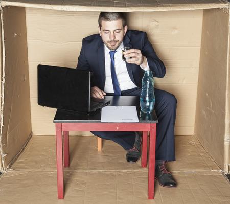 careerist: Drunk businessman reading a contract