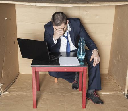 careerist: businessman broke and drunk