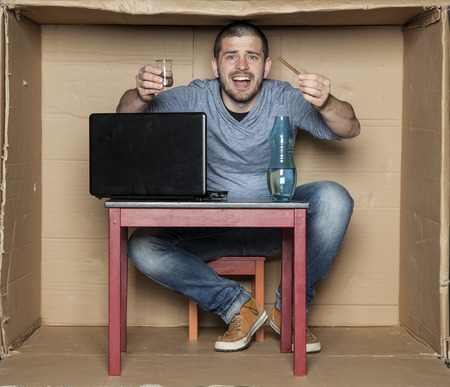 idiot box: student boasts twist and alcohol Stock Photo