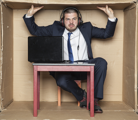 cramped space: cramped office at the workplace Stock Photo