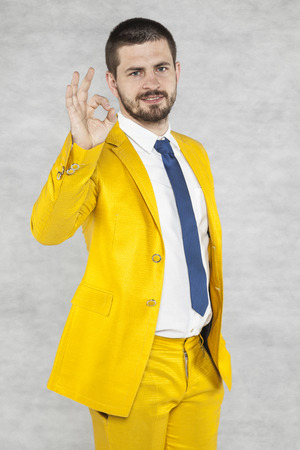 careerist: businessman shows that everything is perfect Stock Photo