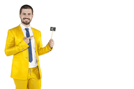 good investment: businessman pointing to the euro as a good investment