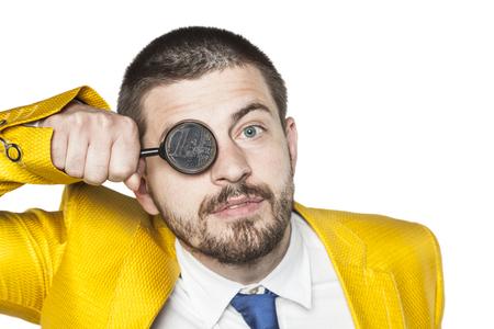 sees: businessman everywhere sees money
