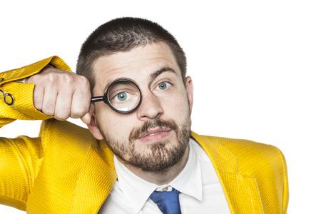 carefully: good businessman checks everything very carefully Stock Photo