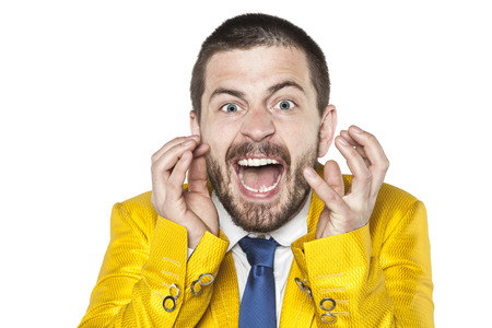 possessed: crazy businessman screaming like a man possessed Stock Photo