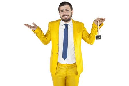 upside: awkward businessman holds euro symbol upside down