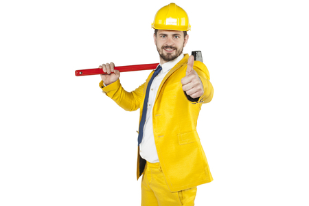 individualist: investor shows thumb up Stock Photo
