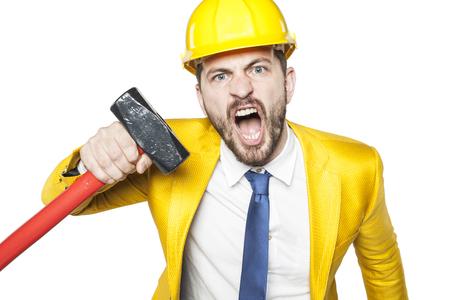 threatens: angry investor threatens big hammer