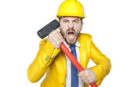 repayment: angry investor with a big hammer in his hands