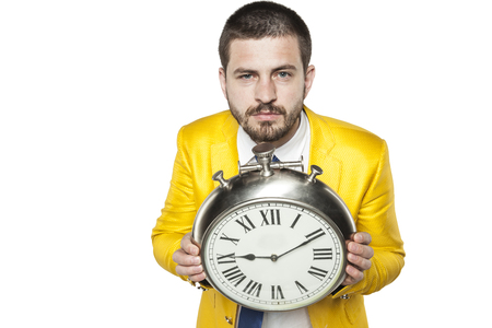 individualist: businessman holds time in his hands