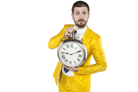 individualist: businessman shows clock Stock Photo