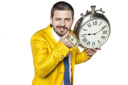 snění: podnikatel drží dolarů v ruce