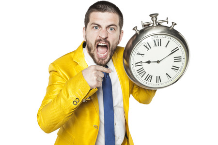 those: businessman is angry with those who are late Stock Photo