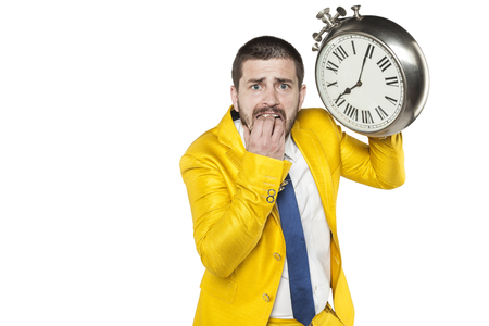 individualist: terrified employee is late for work