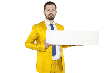 careerist: young businessman holds in his hands a place on your advertising Stock Photo