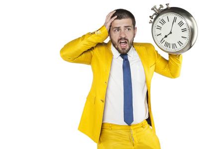 disbelief: late businessman grabs his head Stock Photo