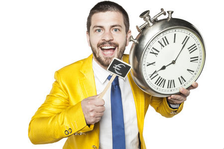 individualist: businessman holding a clock and currency symbol