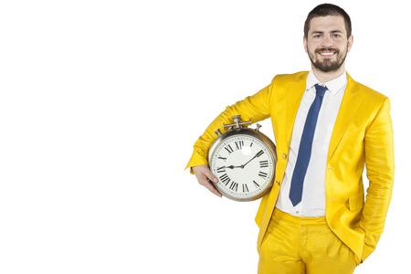 puntualidad: hombre de negocios con tiempo a mano Foto de archivo