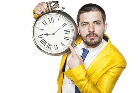 suggests: serious expression businessman suggests that it is late