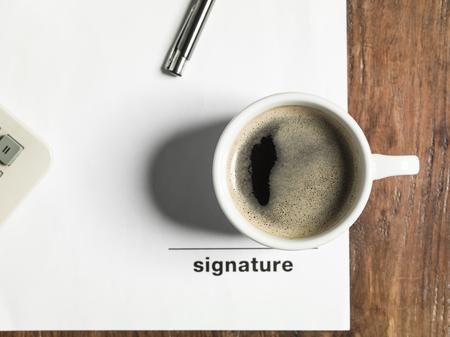 signature: coffee signature Stock Photo