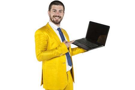businessman shows on new equipment company Stock Photo
