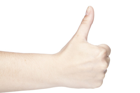 positiv: thumbs up gesture made on a white background