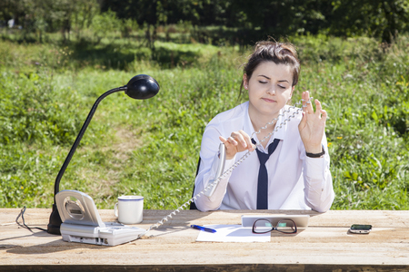 performed: secretary is not involved in the work performed Stock Photo