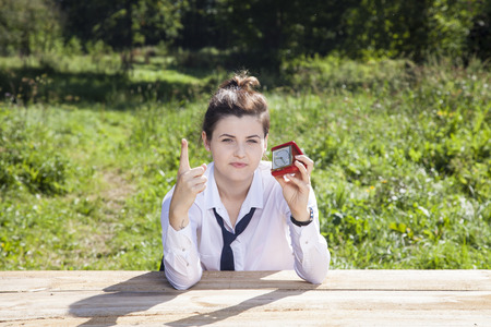 enforce: warning for delay of business woman Stock Photo