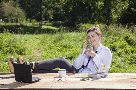 careerist: full of relaxation in the office Stock Photo