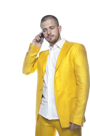 businessman talks on the mobile phone Stock Photo