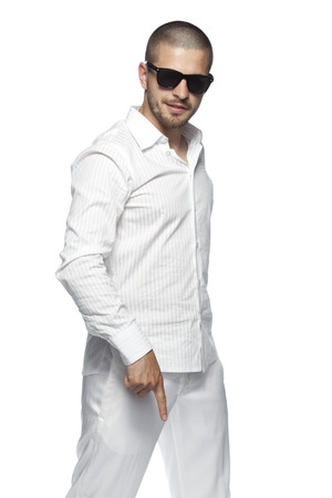 businessman wearing white clothes Stok Fotoğraf