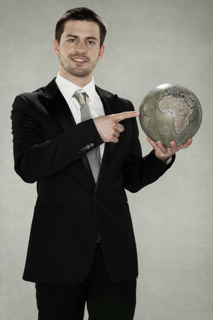 planing: businessman planing expansion Stock Photo