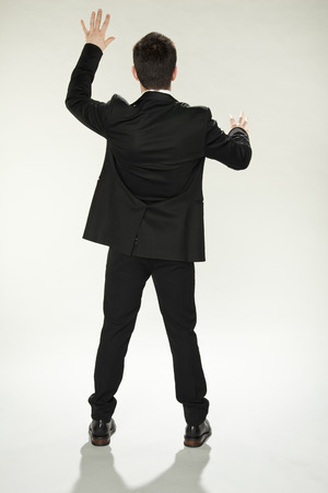rapidity: businessman trying new touch screan  Stock Photo