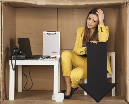 loss leader: depressed business woman, business fell