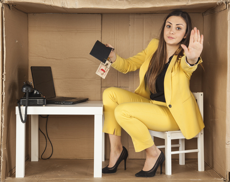 bribes: business woman performs a gesture stop, taking bribes Stock Photo