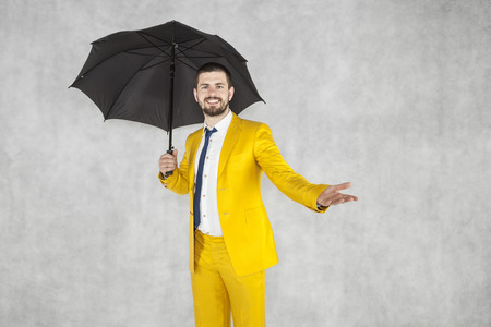 insurance agent, cheerful man and copy space over hand