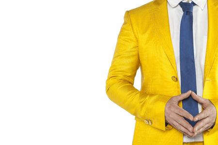 peace emanates from a businessman, a gold suit, white background Banco de Imagens