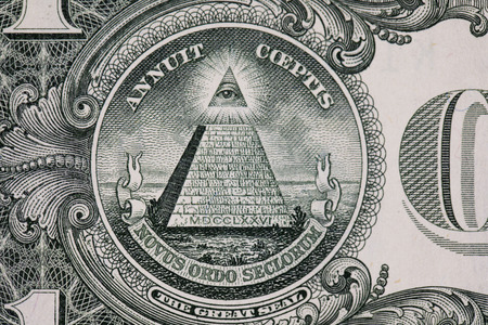 determinant: Closeup of the pyramid symbol on the dollar Stock Photo